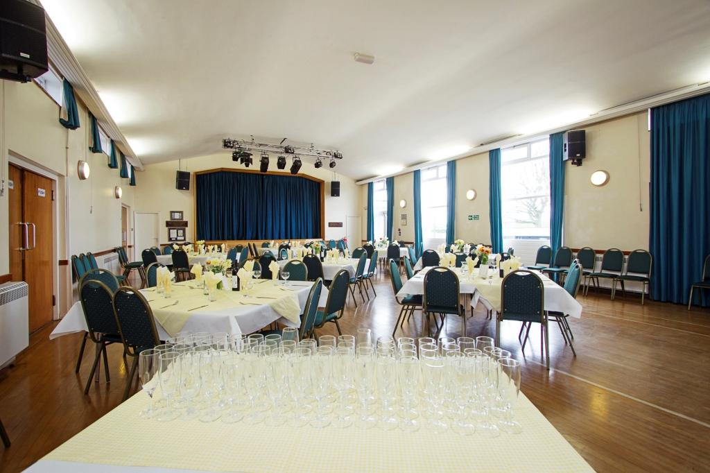 picture of hall set with tables